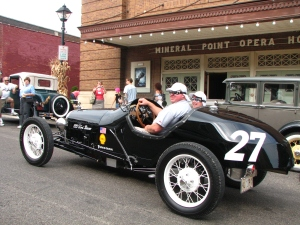 The ideal way to be sure you'll enjoy the drive to the Mineral Point Opera House - come in a vintage race car!