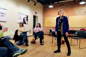 Staff photo by Marisa Wojcik Local author Karen Loeb, right, leads an adult fiction writing workshop Monday at the Volume One Gallery. The workshop is one of many events that are part of the upcoming Chippewa Valley Book Festival.